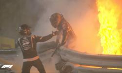 Carro da F1 se parte ao meio e piloto fica quase 1 minuto dentro das chamas