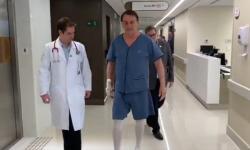 Bolsonaro faz caminhada pelo corredor do hospital