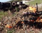 VÍDEO | Caminhão carregado de abacaxi tomba na ES-060 em Praia das Neves em Presidente Kennedy-ES