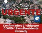 Confirmado o 3º óbito por Covid-19 em Presidente Kennedy