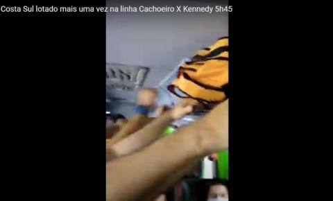 Vídeo mostra superlotação em ônibus da Costa Sul na manhã desta quinta (11)