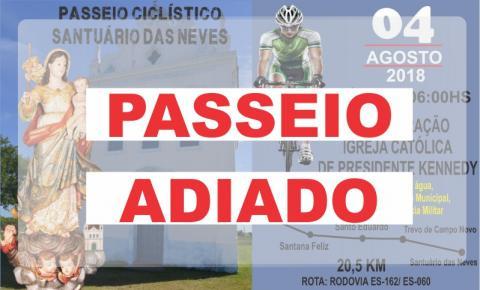 Adiado! Passeio ciclístico que seria realizado na manhã de sábado (04) é adiado devido a chuvas