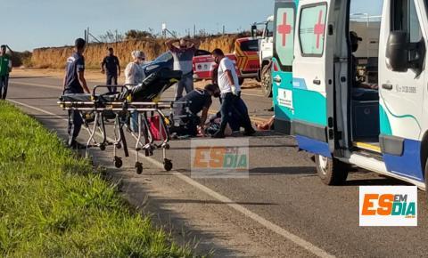 Motociclista morre e mulher fica gravemente ferida em acidente em Lagoa Dantas, Marataízes
