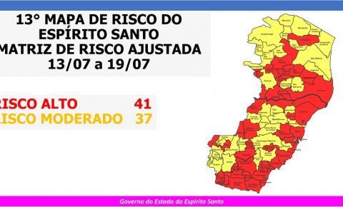 Governo do Espírito Santo divulga 13º Mapa de Risco Covid-19; 41 municípios em Risco Alto e 37 em Risco Moderado