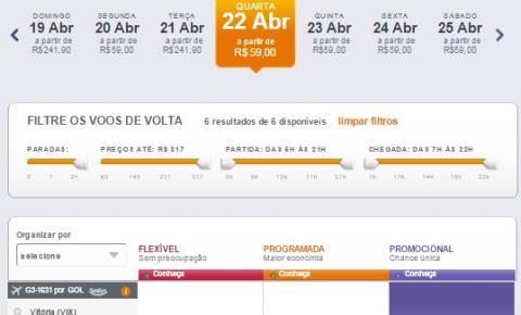 Passagem de avião por R$ 59 no retorno de São Paulo e Rio de Janeiro para Vitória